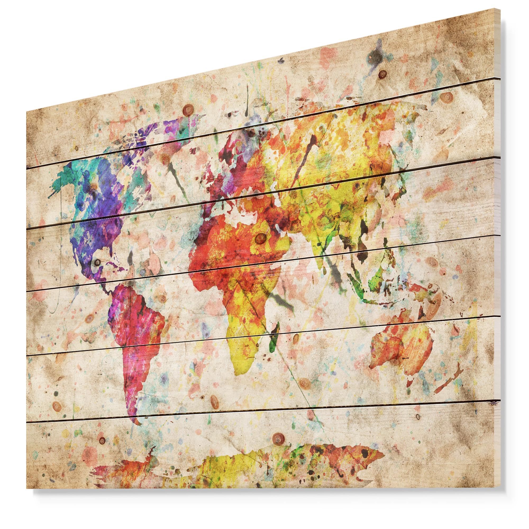 Vintage World Map Art.Design Art Vintage World Map Watercolor