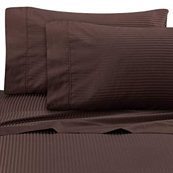 Wamsutta Ultra Soft Sateen 525 Thread Count Queen Flat Sheet in Chocolate Stripe