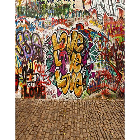 MOHome Polyster 5x7ft Graffiti Paint Street Love Culture Photography Studio Backdrop
