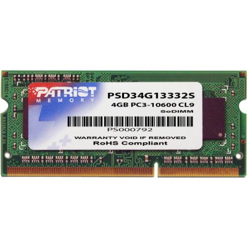 Patriot Memory Signature 4GB DDR3 1333MHz PC3-10600 SODIMM Memory Module, PSD34G13332S