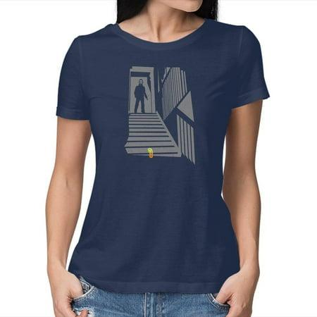 TeeFury Women's Graphic T-shirt CHILD AGAIN - Horror   Halloween   Navy   Medium
