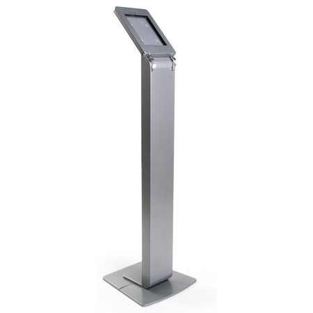 Displays2go 43.5-inch Tall Floor Stand Podium for iPad 2, Hinged Enclosure with Double Locks -  Aluminum