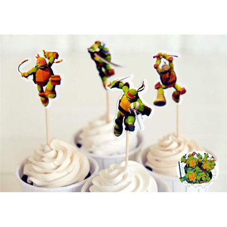 In Design; Fashion Style 24 Teenage Mutant Ninja Turtles Cupcake Ring Toppers/favors New Birthday Supplie Novel