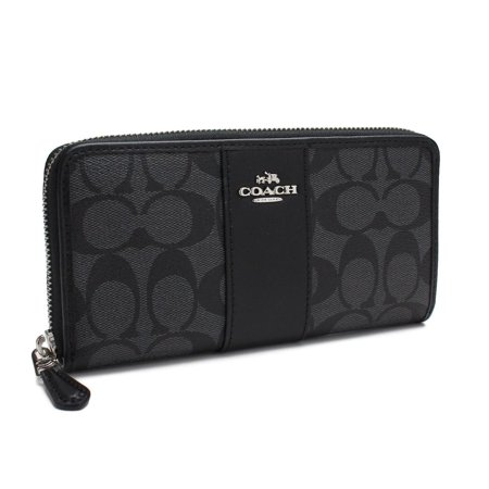Coach F54630 SVDK6 Black Smoke PVC Signature Logo Zip Around Accordion