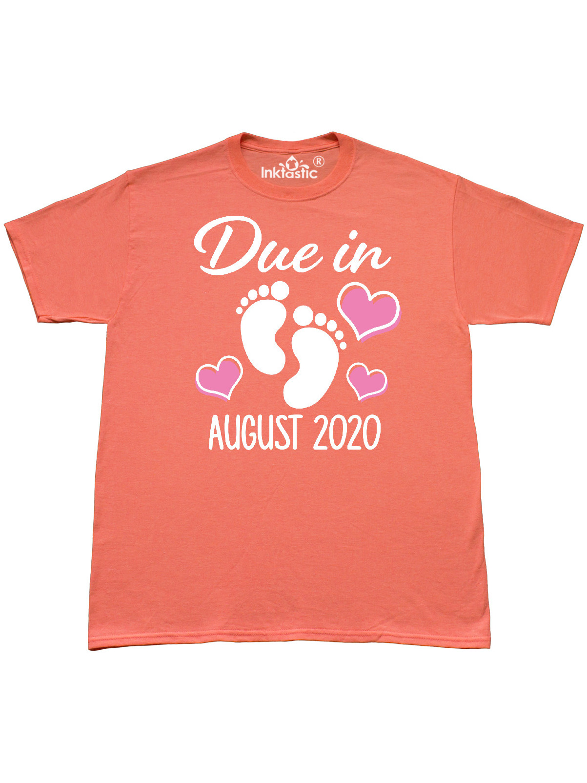 Inktastic Baby Announcement Due In August 2020 With Pink Hearts T Shirt Walmart Com Walmart Com