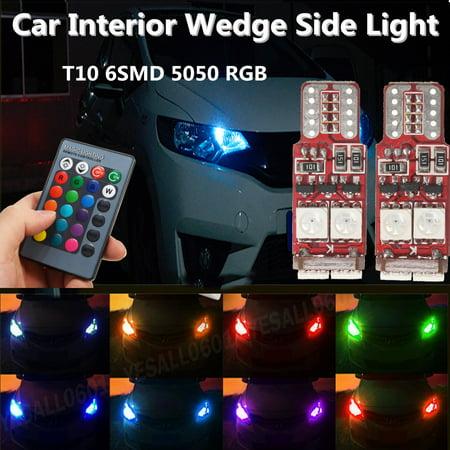 2pcs T10 W5W LED led RGB Car Interior Wedge Side Lamp Light Remote Control Indicator Bulb