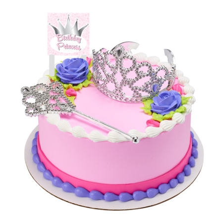 Birthday Princess Crown and Tiara With Plaque Cake Decoration Topper - Halloween Cake Delivery