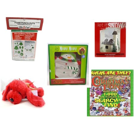 Christmas Fun Gift Bundle [5 Piece] - 11 Shapes Foam Punch-outs Trees/Wreaths/ Holly - Let It Snow Glass Ornament Church - Cracker Barrel Serveware Snowman Bowl & Spreader -  Pals Soft & Cuddly Red
