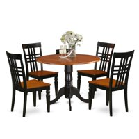 East West Furniture 5 Piece Triple Crossback Drop Leaf Dinette Dining Table Set