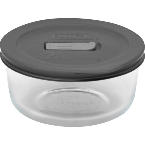 Pyrex No Leak Lids 2 Cup Round Baking Dish with Plastic Lid