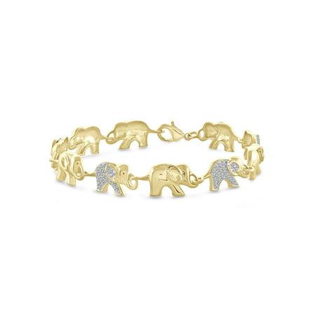 (JewelersClub White Diamond Accent 14kt Gold-Plated Elephant Bracelet, 7.50