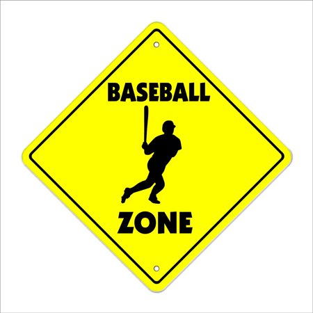 Fan Room Sign - Baseball Crossing Sign Zone Xing | Indoor/Outdoor | 14