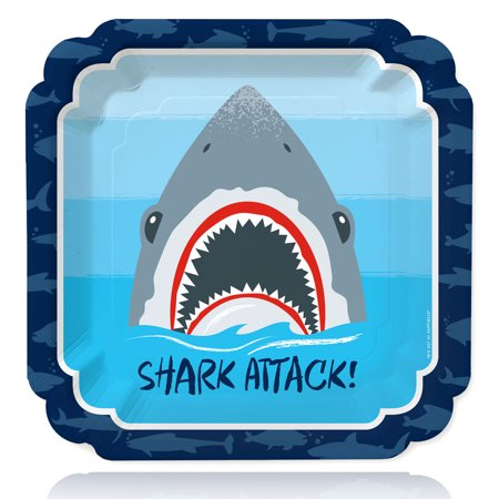 Shark Zone - Jawsome Shark Party or Birthday Party Dinner Plates (16 Count) - Shark Party Decor