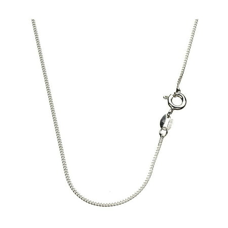 Sterling Silver 1mm Diamond-Cut Curb Nickel Free Chain Necklace Italy, - 1 Mm Bead Chain
