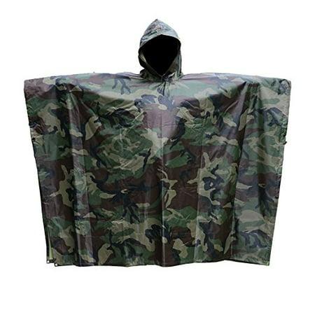 Multi-Use Rain Poncho, Waterproof  Hooded Rainwear US PVC Camouflage Rain coat( Camouflage)