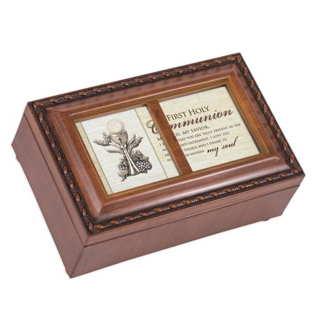 "6"" Brown and White Communion Petite Music Locket Box"