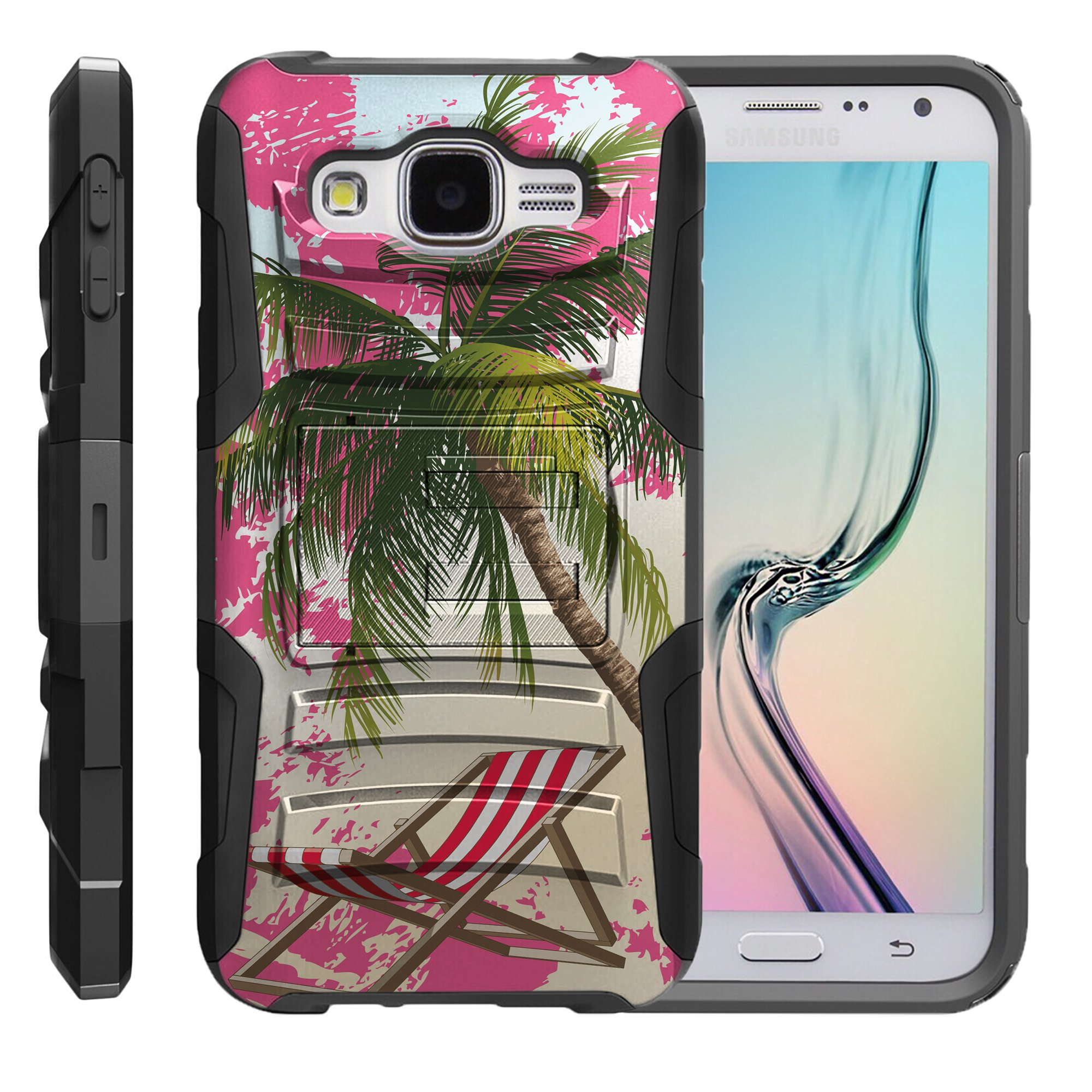 TurtleArmor ® | For Samsung Galaxy E5 E500 [Hyper Shock] Hybrid Dual Layer Armor Holster Belt Clip Case Kickstand - Reading on Beach