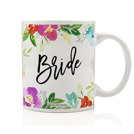 Pretty Floral Bride Coffee Mug Gift Idea Engagement Bachelorette Parties Bridal Shower Soon-to-be-Mrs. Present from Wedding Party Rehearsal Dinner 11oz Lovely Blooms Ceramic Tea Cup Digibuddha