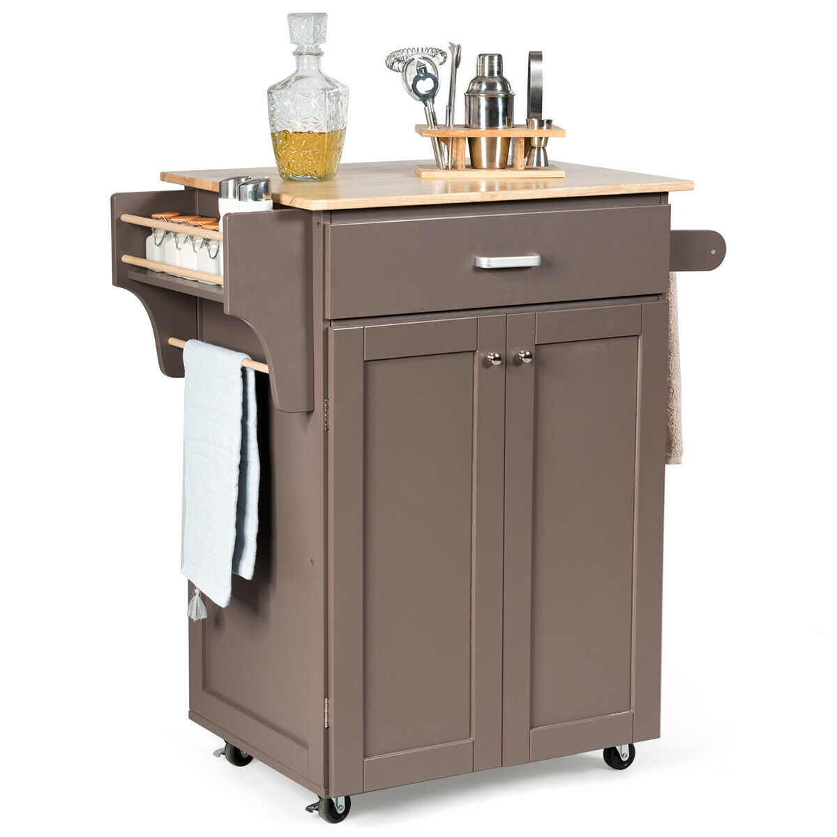 Gymax Rolling Kitchen Island Utility Kitchen Cart Storage