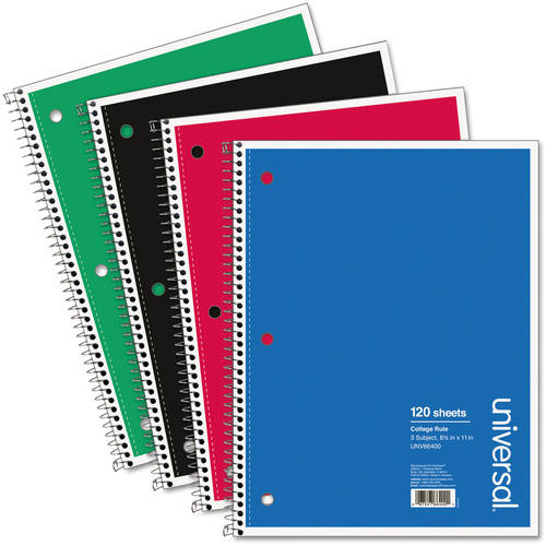 (3 Pack) Universal 3 Sub. Wirebound Notebook, 11 x 8 1/2, College Rule, 120 Sheets, Black Cover -UNV66400