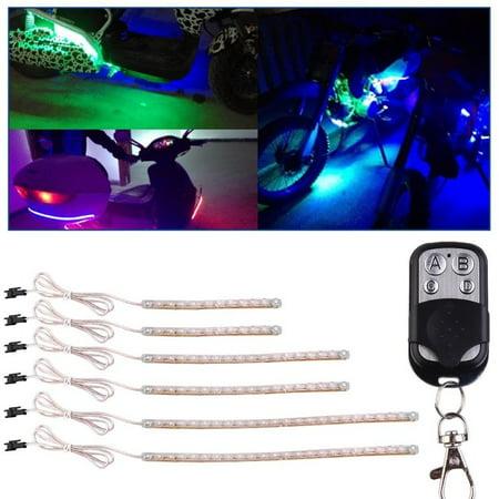 Led Car Light Strips 6 Pcs/Set Blue Waterproof Flexible