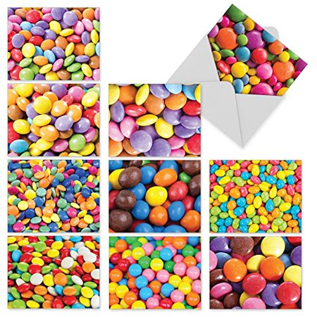 'M3000 CANDY MAN' 10 Assorted Thank You Greeting Cards Serve Up Sweet Sugar-Coated Candy Images with Envelopes by The Best Card Company