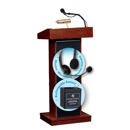 Oklahoma Sound M800X-MY-LWM-7 40W The Orator Lectern & Rechargeable Battery with Wireless Headset Mic, - Wireless Victoria Lectern