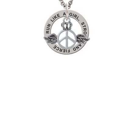 Peace Necklace (Silvertone Winged Peace Sign with Crown Run Like A Girl Affirmation Ring Necklace )
