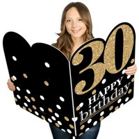 Adult 30th Birthday - Gold - Happy Birthday Giant Greeting Card - Big Shaped Jumborific Card - 16.5 x 22 inches