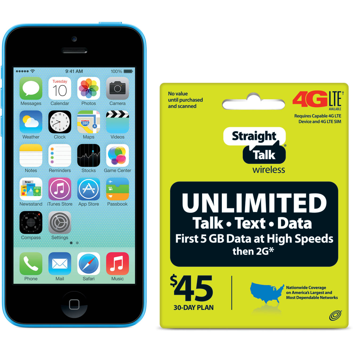 Straight Talk Apple iPhone 5C 8GB 4G LTE Refurbished Prepaid Smartphone w/ Bonus $45 30-Day Plan