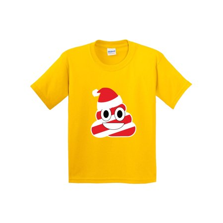 New Way 1133 - Youth T-Shirt Christmas Peppermint Poop Emoji Small Daisy Yellow