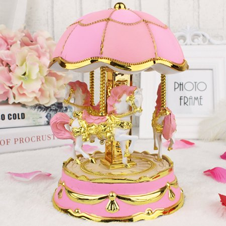 Iuhan New Octave Light Carousel Music Box Christmas Birthday Gift Carousel Music Box