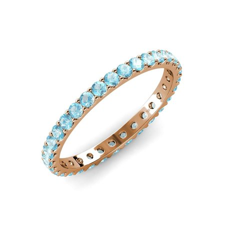 Aquamarine 2.7mm U-Prong Eternity Band 1.67 ct tw to 1.90 ct tw in 14K Rose Gold.size 8.5