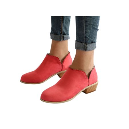 d3f1395054 Womens Stylish Ankle Short Boots Low Heel Mid Block Ladies Casual Party  Shoes - Walmart.com