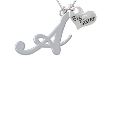 Large Gelato Script Initial   A   Big Sister Heart Necklace  18  2