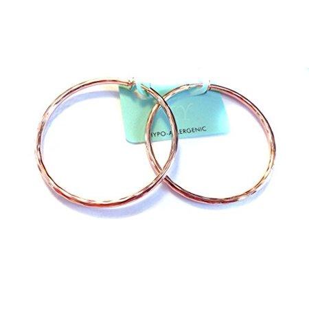 - Clip Hoop Earrings 2 inch Hoops Rose Gold tone Hoops