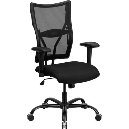 Series 400 lb. Capacity Big and Tall Black Mesh Executive Swivel Office Chair with Height Adjustable Arms