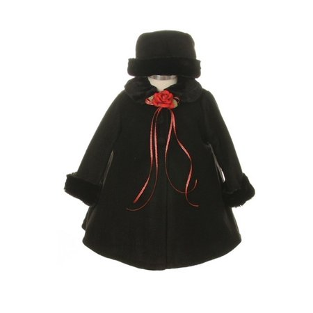 Black Fleece Faux Fur Collar Stylish Coat Baby Girl 12M - Faux Fur Coat Girls