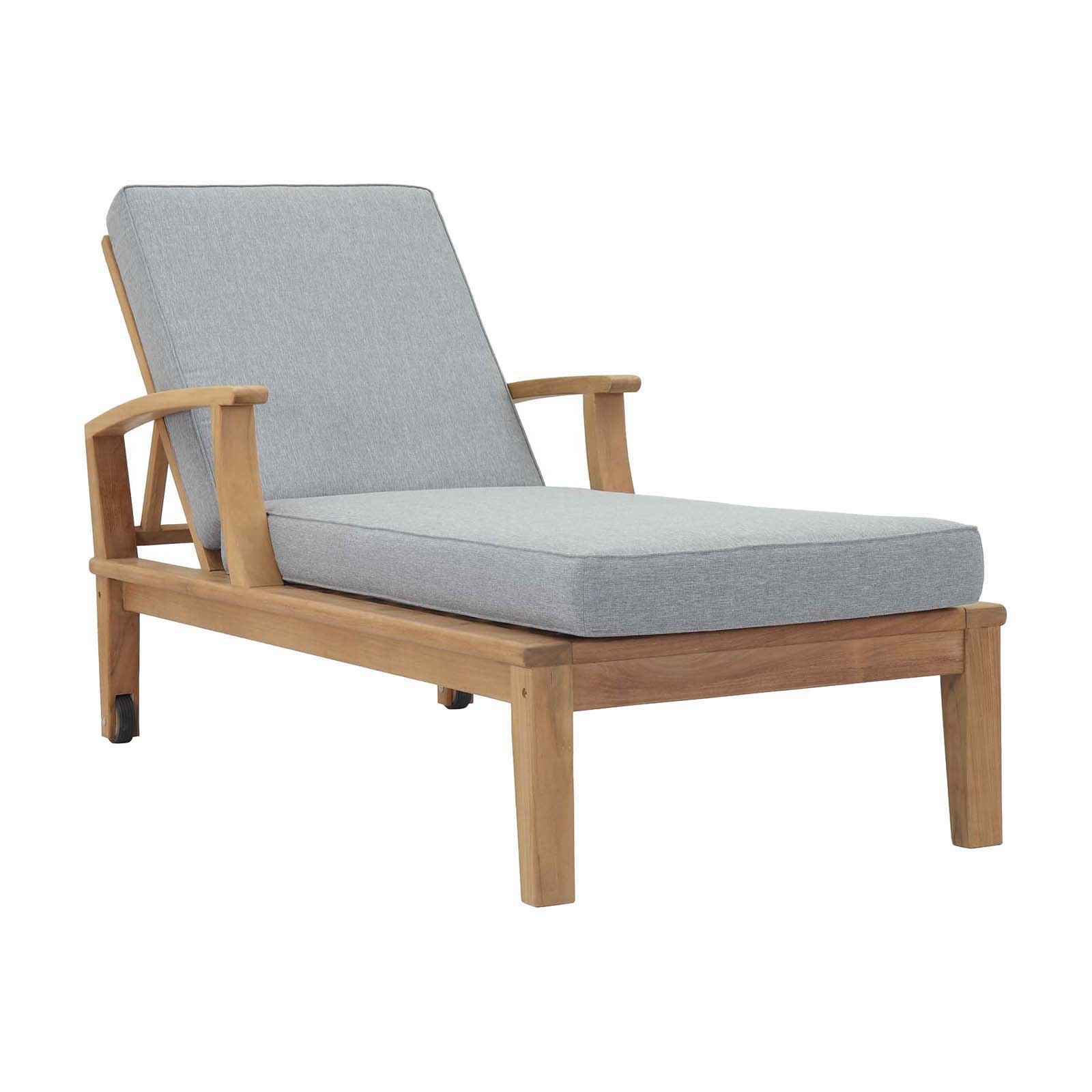 Modway Marina Outdoor Patio Teak Single Chaise in Natural White