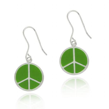 Sterling Silver Green Enamel Peace Sign Dangle Earrings