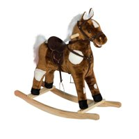 Qaba Kids Metal Plush Ride-On Rocking Horse Chair Toy With Nursery Rhyme Music - Dark Brown
