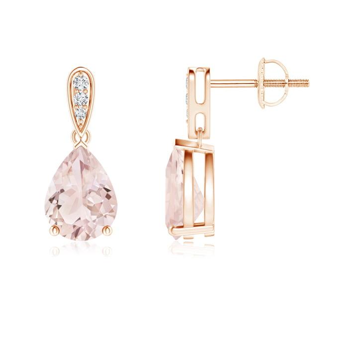 Angara Rose Gold Pear Shaped Morganite Earrings ooHQO3