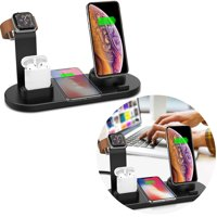 GLiving Wireless Charging Station, Qi Wireless Charger Stand for Multiple Devices, 4 in 1 Wireless Charging Stand for Watch and Phone,  Compatible Most Device