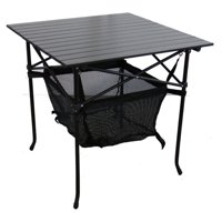 """27.25"""" Aluminum Roll Slate Graphite Grey Adult Table with Storage"""