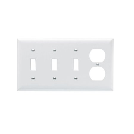 Pass & Seymour - SP38LA - Light Almond - 4 Gang - 3 Toggle Switch & 1 Duplex Receptacle Wall Plate ()