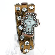 Copper Large Rhinestone Jewel Leather Bracelet Crucifix Cross Shape Wrist Watch