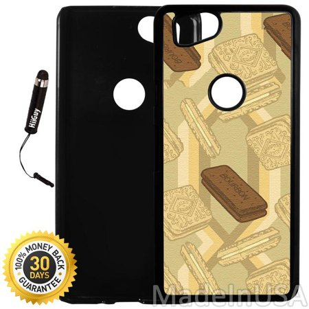 Custom Google Pixel 2 Case (Bourbon Biscuits) Plastic Black Cover Ultra Slim | Lightweight | Includes Stylus Pen by Innosub
