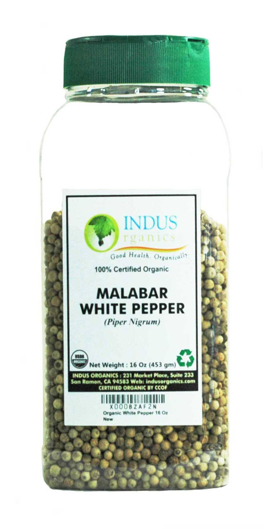 100% Organic White Peppercorns (Malabar) by Indus Organics