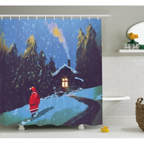 Click here to buy Ambesonne Fantasy Art House Christmas Santa Claus Walking to the Mountain House Surrounded by Pines Shower Curtain Set by Kozmos.