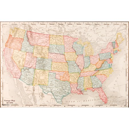 Map Of United States Usa 1896 Vintage Travel Decorative Reference Educational Art Poster   18X12 Inch